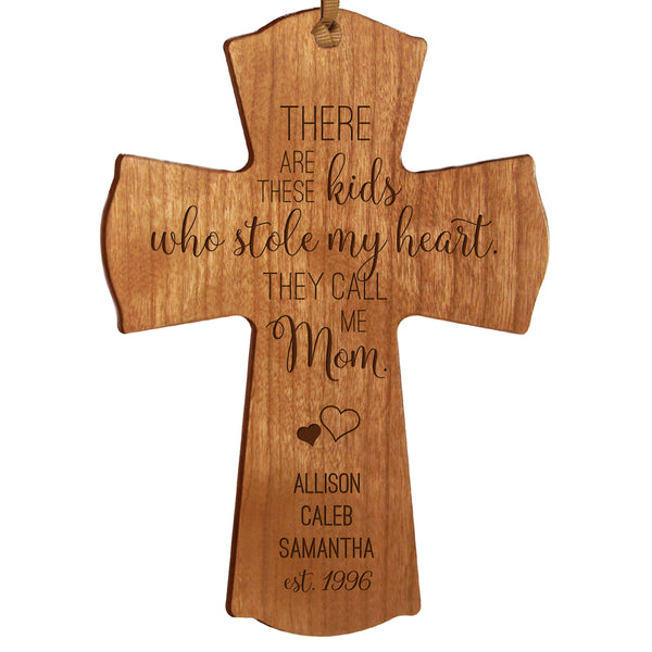 "LifeSong Milestones Personalized Mother's Day Gift From Son, Grandson, Nephew Solid Wood Mini Cross Family Keepsake 4""x6"" Mom These Kids"