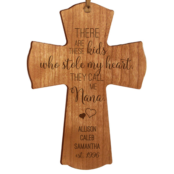 "LifeSong Milestones Personalized Mother's Day Gift From Son, Grandson, Nephew Solid Wood Mini Cross Family Keepsake 4""x6"" Nana These Kids"