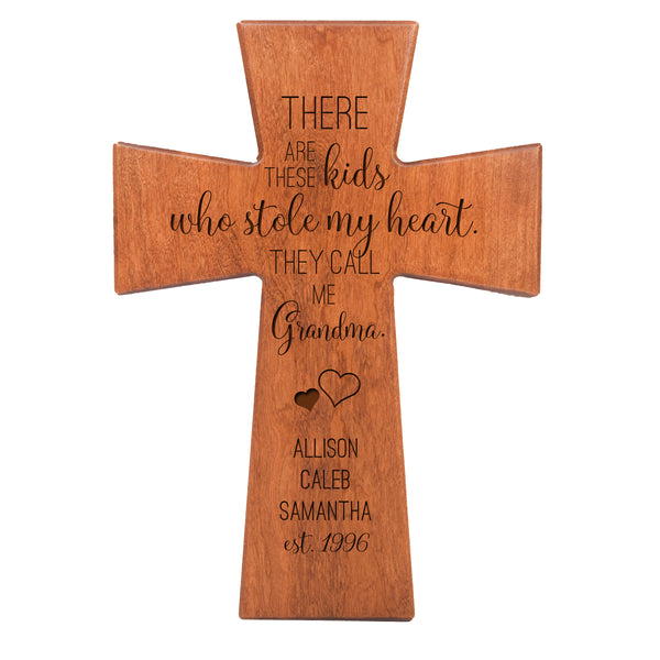 "LifeSong Milestones Personalized Mother's Day Gift From Son, Grandson, Nephew Solid Wood Cross Family Keepsake 7""x11"" Grandma These Kids"