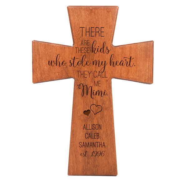 "LifeSong Milestones Personalized Mother's Day Gift From Son, Grandson, Nephew Solid Wood Cross Family Keepsake 7""x11"" Mimi These Kids"