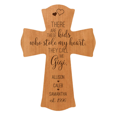 "LifeSong Milestones Personalized Mother's Day Gift From Son, Grandson, Nephew Solid Wood Cross Family Keepsake 8.5""x11"" Gigi These Kids"