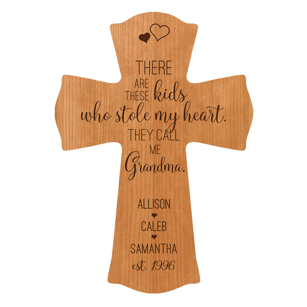 "LifeSong Milestones Personalized Mother's Day Gift From Son, Grandson, Nephew Solid Wood Cross Family Keepsake 8.5""x11"" Grandma These Kids"