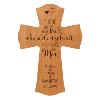 "LifeSong Milestones Personalized Mother's Day Gift From Son, Grandson, Nephew Solid Wood Cross Family Keepsake 8.5""x11"" Mom These Kids"