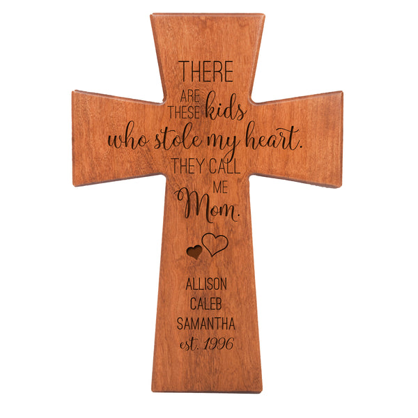 "LifeSong Milestones Personalized Mother's Day Gift From Son, Grandson, Nephew Solid Wood Cross Family Keepsake 12""x17"" Mom These Kids"