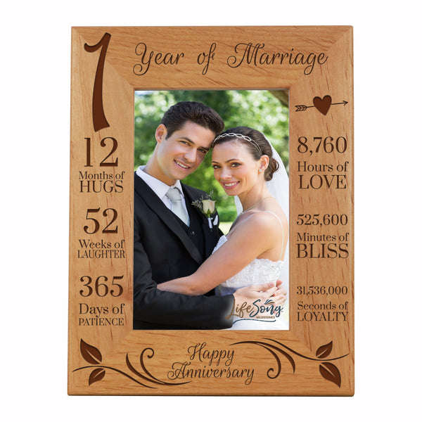 LifeSong Milestones 1st Anniversary Picture Frame 1 year of marriage - One Year Wedding Keepsake Gift for parents husband wife him her Holds 5x7 Photo- Happy Anniversary (7.5x9.5)