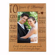 LifeSong Milestones 10th Anniversary Picture Frame 10 year of marriage - Ten Year Wedding Keepsake Gift for parents husband wife him her Holds 5x7 Photo- Happy Anniversary (7.5x9.5)