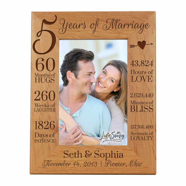 LifeSong Milestones 5th Anniversary Picture Frame 5 year of marriage - Five Year Wedding Keepsake Gift for parents husband wife him her Holds 5x7 Photo- Happy Anniversary (7.5x9.5)