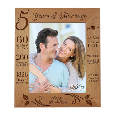 LifeSong Milestones 5th Anniversary Picture Frame 5 year of marriage - Five Year Wedding Keepsake Gift for parents husband wife him her Holds 8x10 Photo- Happy Anniversary (11.5x13.5)