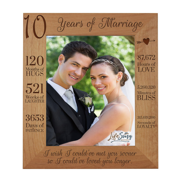 LifeSong Milestones 10th Anniversary Picture Frame 10 year of marriage - Ten Year Wedding Keepsake Gift for parents husband wife him her Holds 8x10 Photo- Happy Anniversary (11.5x13.5)