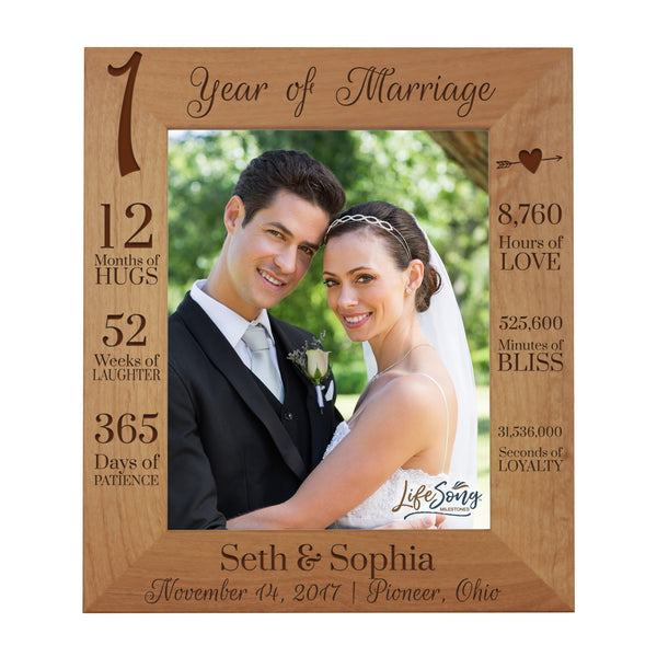 LifeSong Milestones 1st Anniversary Picture Frame 1 year of marriage - One Year Wedding Keepsake Gift for parents husband wife him her Holds 8x10 Photo- Happy Anniversary (11.5x13.5)