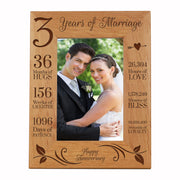 LifeSong Milestones 3rd Anniversary Picture Frame 3 year of marriage - Three Year Wedding Keepsake Gift for parents husband wife him her Holds 5x7 Photo- Happy Anniversary (7.5x9.5)