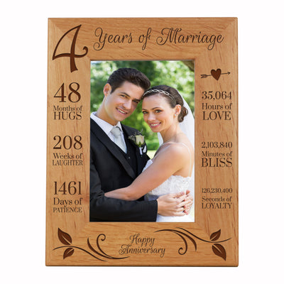 LifeSong Milestones 4th Anniversary Picture Frame 4year of marriage - Four Year Wedding Keepsake Gift for parents husband wife him her Holds 5x7 Photo- Happy Anniversary (7.5x9.5)