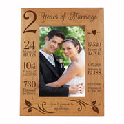 LifeSong Milestones 2nd Anniversary Picture Frame 2 year of marriage - Two Year Wedding Keepsake Gift for parents husband wife him her Holds 5x7 Photo- Happy Anniversary (7.5x9.5)