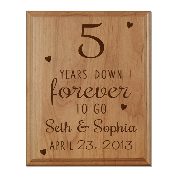 LifeSong Milestones 1st Anniversary gift for Him Her Personalized Name and Date Plaque 5 years of marriage - Five Year Wedding Keepsake Gift for parents husband wife