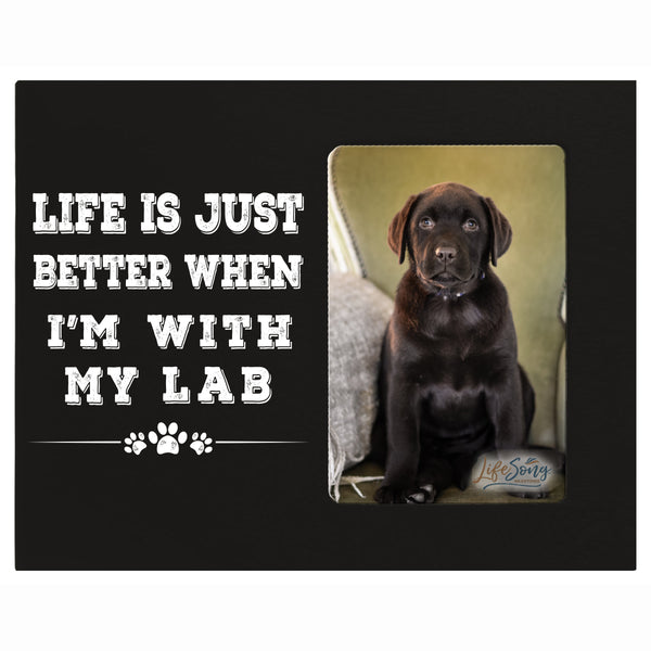 "LifeSong Milestones Digitally Printed Pet Vertical Photo Frame Gift Ideas for Black Lab & Dog Lovers - Golden Lab Owner Frame Gift 8""x10"" Holds 4""x6"" Photo"
