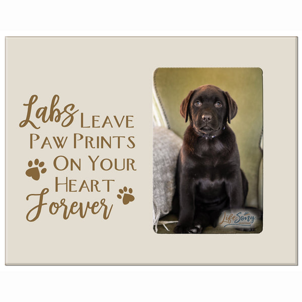 "LifeSong Milestones Engraved Pet Vertical Photo Frame Gift Ideas for Black Lab & Dog Lovers - Golden Lab Owner Frame Gift 8""x10"" Holds 4""x6"" Photo"