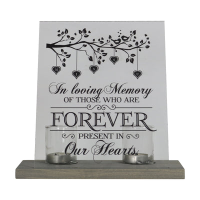 "Lifesong Milestones Loss of Mother, Father, Child, Parents Loved Ones Memorial Sympathy Candle 8"" x 10"" Acrylic Bereavement Sign With Gray Wood Base"