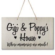 Personalized Grandparent Wall Hanging Sign Gift - Memories Are Made Gigi and Poppy White