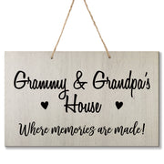 Personalized Grandparent Wall Hanging Sign Gift - Memories Are Made Grammy and Grandpa White