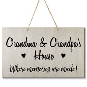 Personalized Grandparent Wall Hanging Sign Gift - Memories Are Made Grandma and Grandpa White