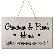 Personalized Grandparent Wall Hanging Sign Gift - Memories Are Made Grandma and Papa White