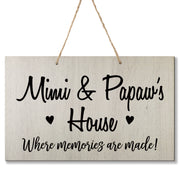 Personalized Grandparent Wall Hanging Sign Gift - Memories Are Made Mimi and Papaw White
