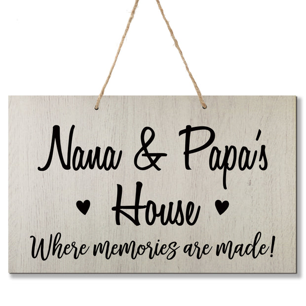 Personalized Grandparent Wall Hanging Sign Gift - Memories Are Made Nana and Papa White