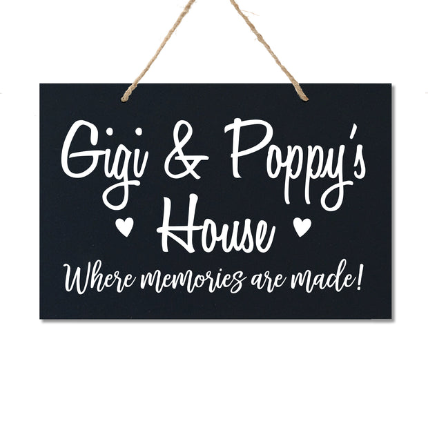 Personalized Grandparent Wall Hanging Sign Gift - Memories Are Made Gigi & Poppy Black