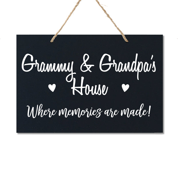 Personalized Grandparent Wall Hanging Sign Gift - Memories Are Made Grammy and Grandpa Black