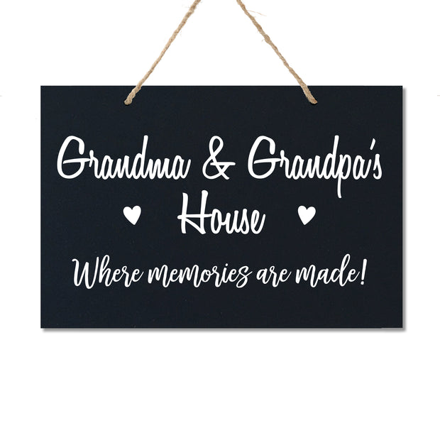 Personalized Grandparent Wall Hanging Sign Gift - Memories Are Made Grandma and Grandpa Black