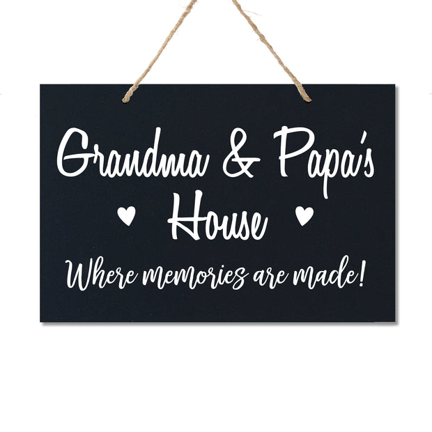 Personalized Grandparent Wall Hanging Sign Gift - Memories Are Made Grandma and Papa Black