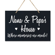 Personalized Grandparent Wall Hanging Sign Gift - Memories Are Made Nana and Papa Black