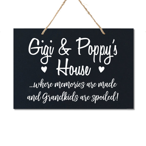 Personalized Grandparent Wall Hanging Sign Gift - Grandkids Spoiled Gigi and Poppy Black