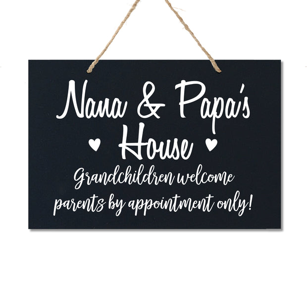 Personalized Grandparent Wall Hanging Sign Gift - Grandchildren Welcome.