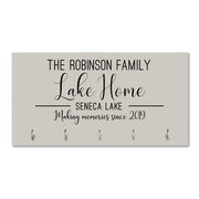 LifeSong Milestones Personalized Family Established Date Key Holder - Custom Printed Coat Rack With Family Name and Date 8x16 Plaque with Hooks