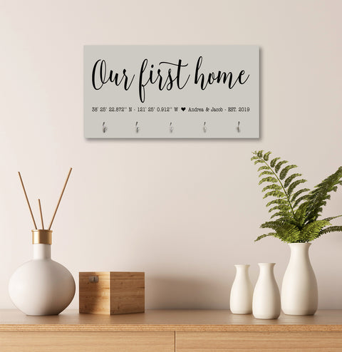 Personalized Established Key Holders - Coordinates Our First Home