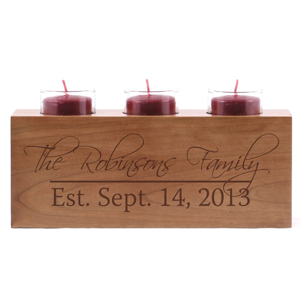 Personalized Handcrafted Established Home Candle Holder Decor