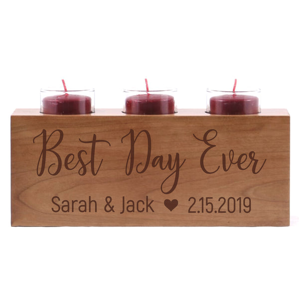 Personalized Handcrafted Established Home Candle Holder-Best Day Ever