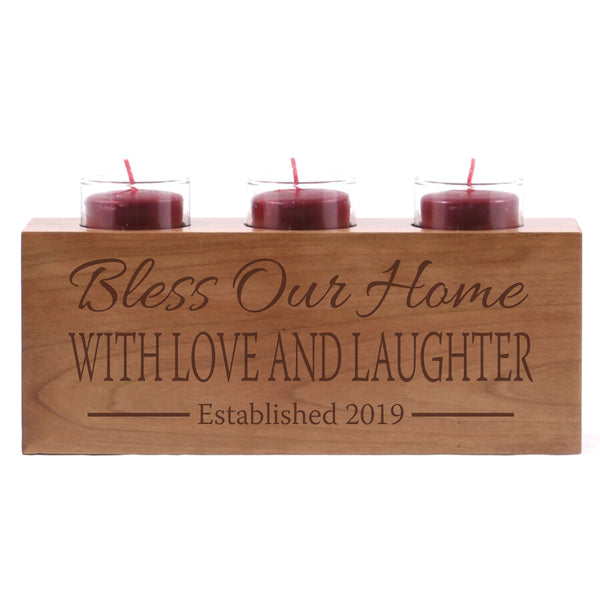 Personalized Handcrafted Home Candle Holder Decor - Bless Our Home