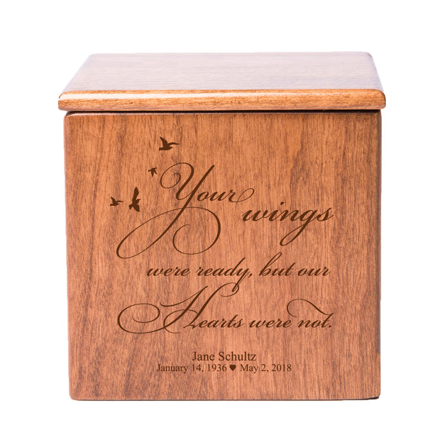 Personalized 4.5x4.5 Keepsake Urn Boxes - Your Wings Were Ready