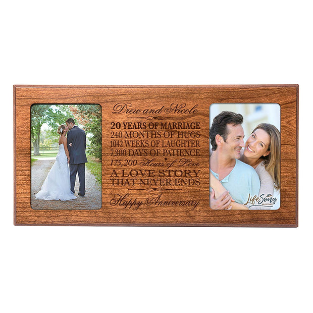 Personalized 20th Anniversary Double Photo Frame - Happy Anniversary Cherry