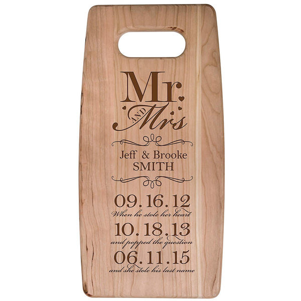 "Personalized cherry Cutting Board Mr and Mrs When He stole her heart and popped the question Wedding Anniversary Gift Ideas for Him, Her, Couples Established Dates to Remember 7""w x 14""h"
