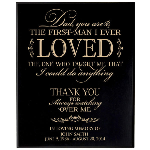 Personalized Wedding Memorial Gift, Sympathy Wall Plaque, Dad You Are The First Man I Ever Loved, Custom Engraved Plaque measures 12x15 by LifeSong Milestones USA Made