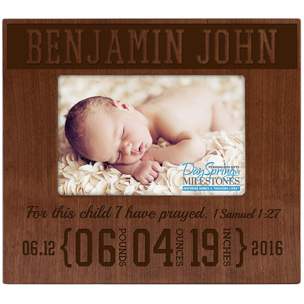 Personalized New Baby Cherry Photo Frame - 1 Samuel 1:27