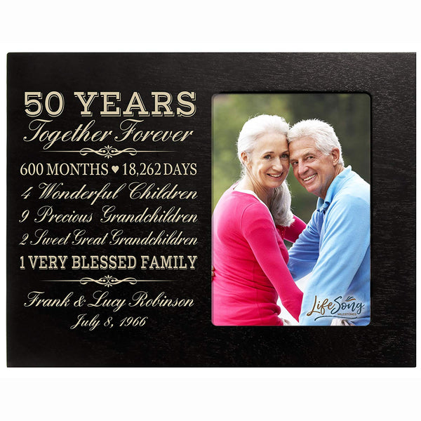 LifeSong Milestones Personalized 50th Year Anniversary gift for her him couple Custom Engraved wedding gift for husband wife girlfriend boyfriend photo frame holds 4x6 photo