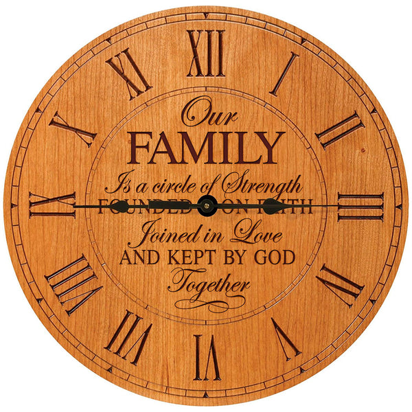 "Wedding Gifts for parents Modern Decorative Wall Clocks Housewarming Anniversary Gift for Couple Our Family is a circle of Strength 12""x12"" By LifeSong Milestones"