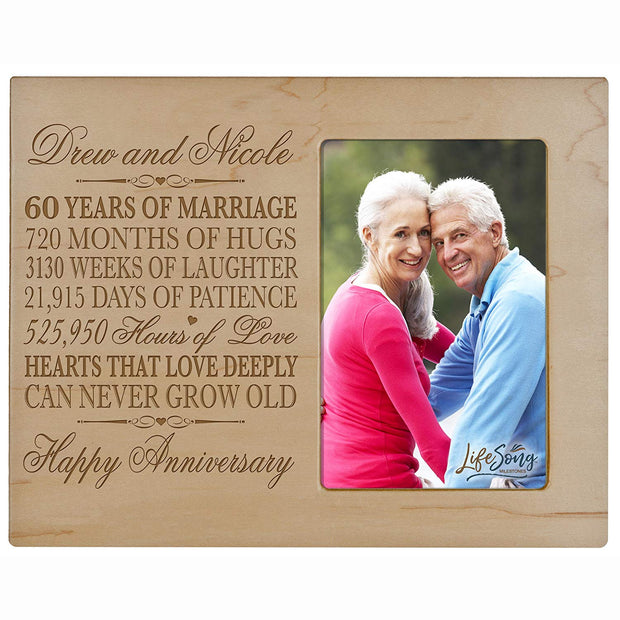 Personalized 60th Anniversary Photo Frame - Happy Anniversary Maple