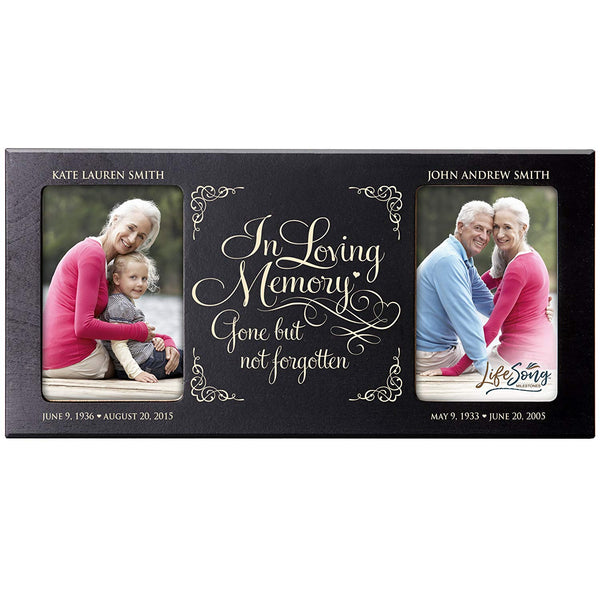 Personalized Memorial Sympathy Picture Frame, In Loving Memory Gone But Not Forgotten, Custom Frame Holds Two 4x6 Photos, Made In USA by LifeSong Milestones