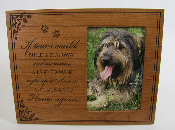Personalized Photo Frame with Paw Prints If Tears Could Build a Stairway and Memories a Lane