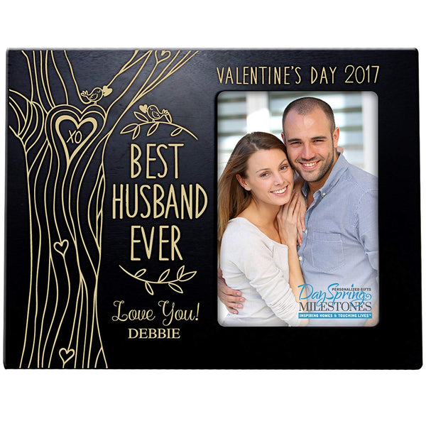 Personalized Valentine's Day Photo Frame Gift Custom Engraved ideas for couple BEST HUSBAND EVER Frame holds 4 x 6 picture